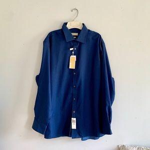 NWT MICHAEL KORS MENS NAVY DRESS SHIRT SIZE 18 XL